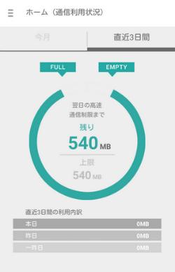 楽天モバイルSIMアプリ直近3日間の通信利用状況