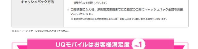 UQモバイル キャッシュバック エントリーパッケージ利用不可