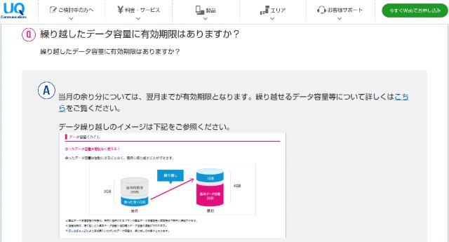 UQモバイル 基本データ容量 有効期限