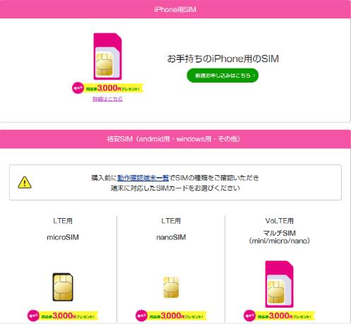 UQモバイル SIMカード サイズ 種類